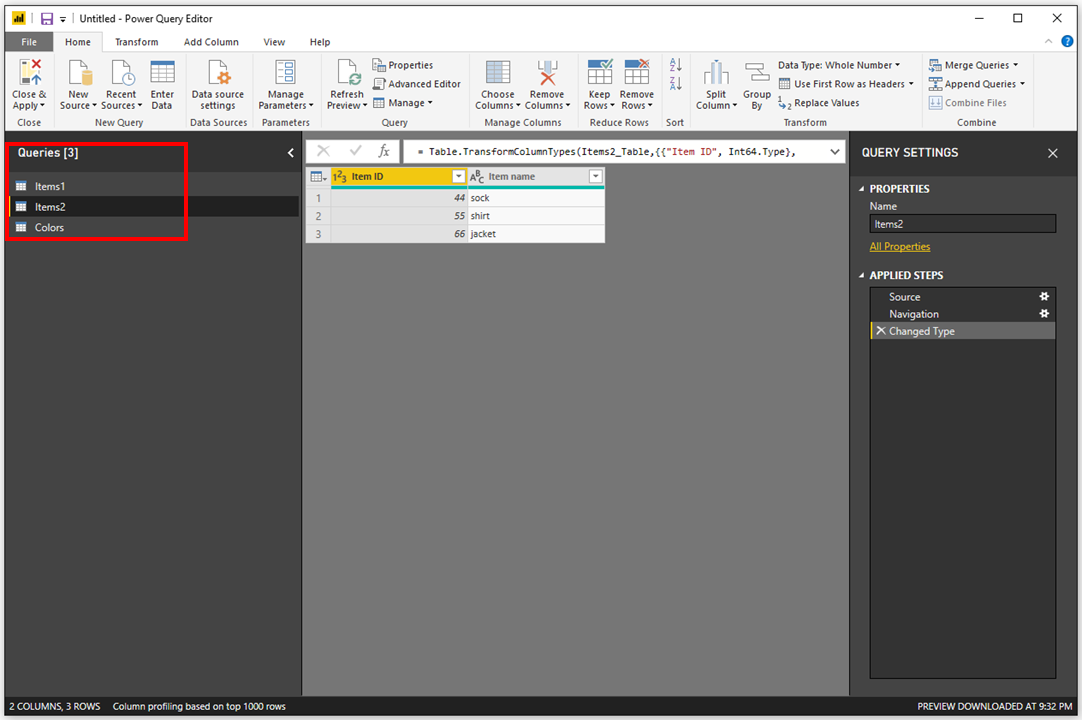 Merge vs Append in Power BI - 6 - Tables Loaded