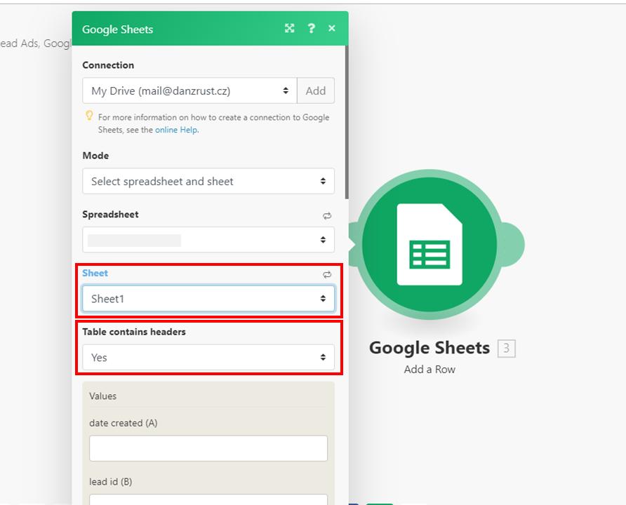 Integromat - 16 - New Scenario - Select Spreadsheet and Sheet