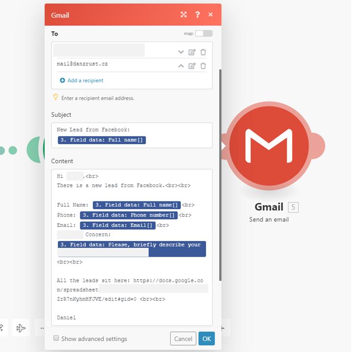 Integromat - 20 - New Scenario - Create Gmail Message
