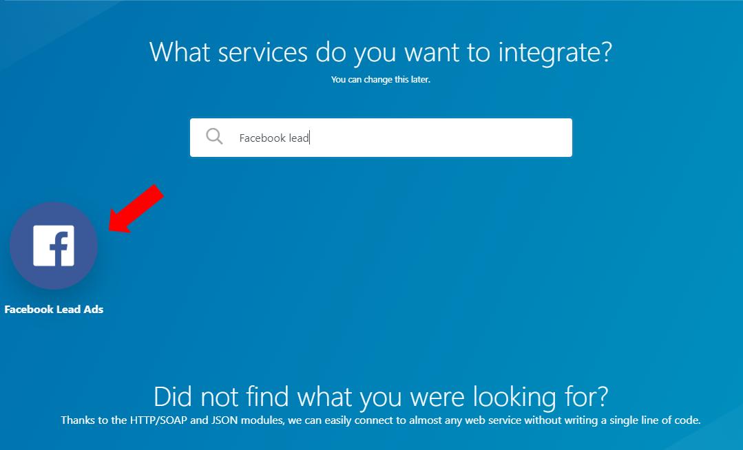 Integromat - 3 - New Scenario - Select Facebook Leads