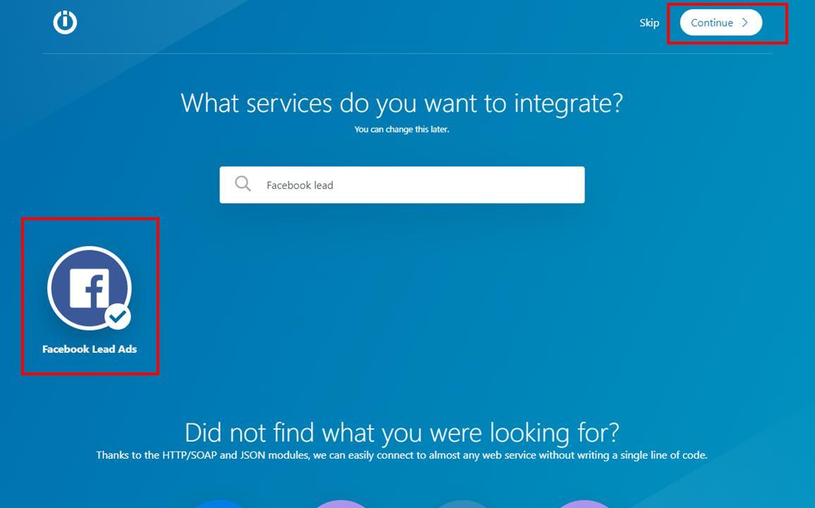 Integromat - 4 - New Scenario - Select Facebook Leads - Continue