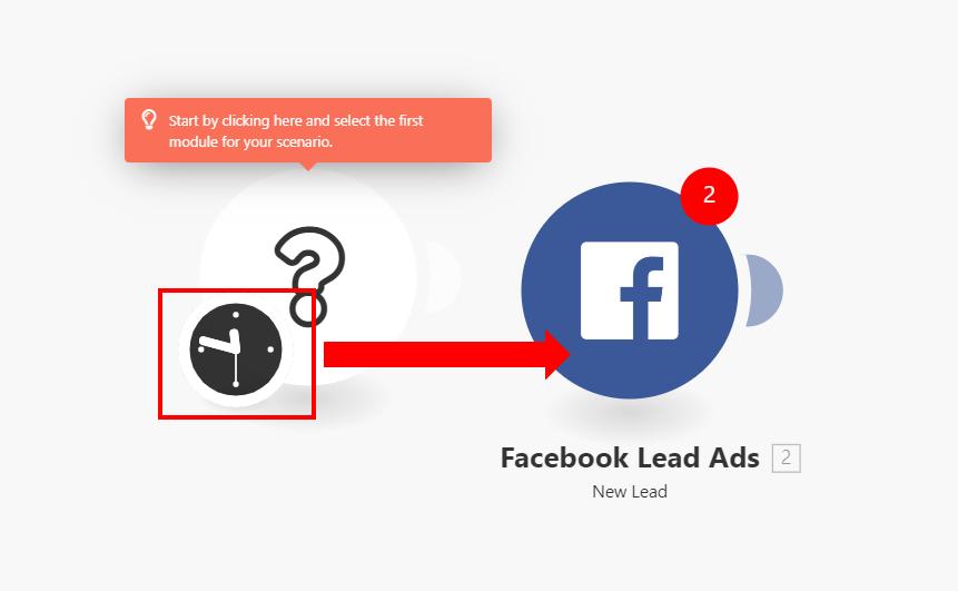 Integromat - 7 - New Scenario - Drag Scheduler onto Facebook Module
