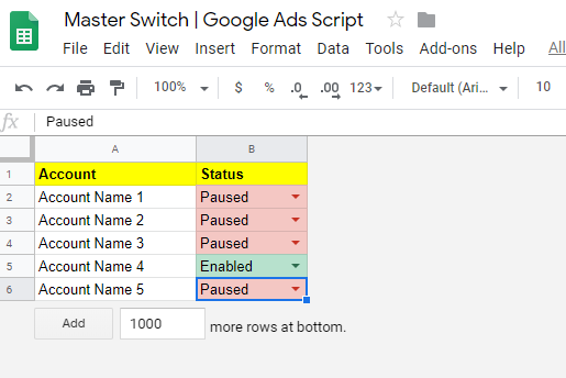 Master Switch - Config in Google Sheet
