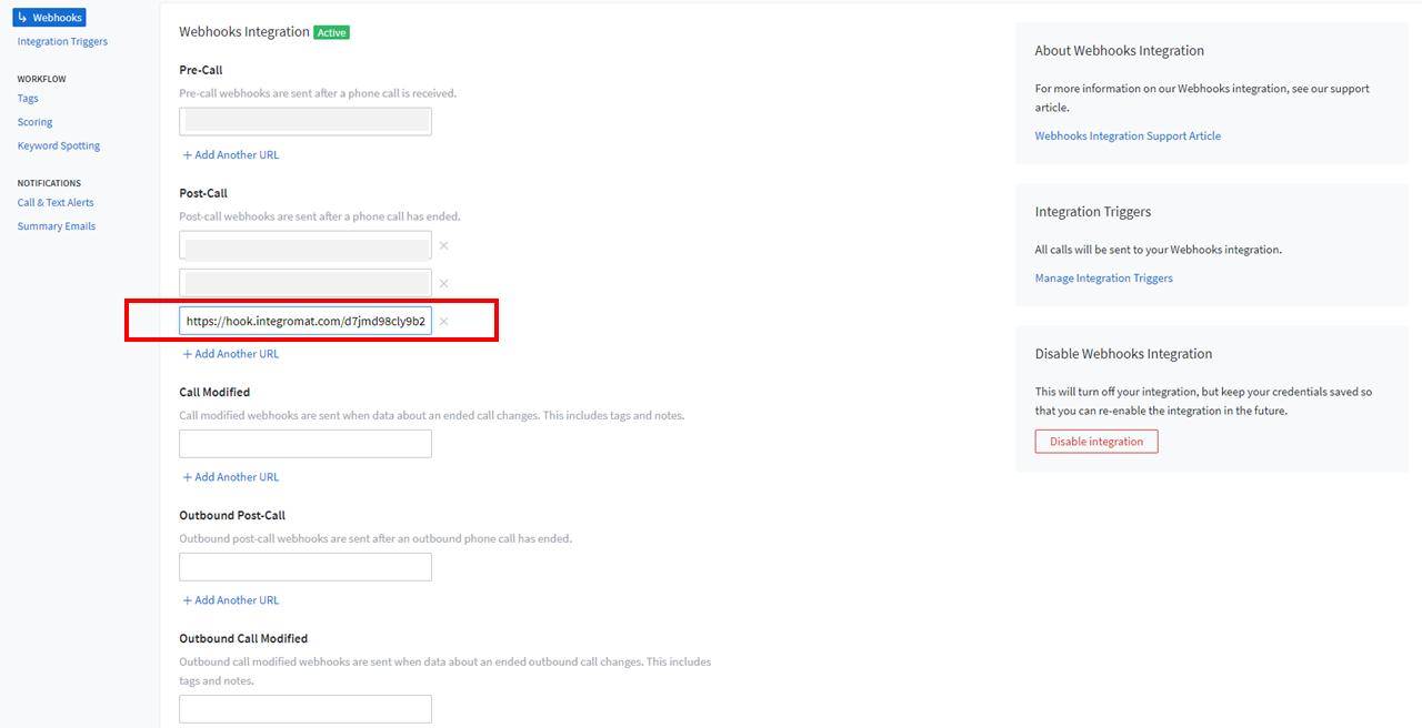 3 - CallRail Integrations - Webhook Entered