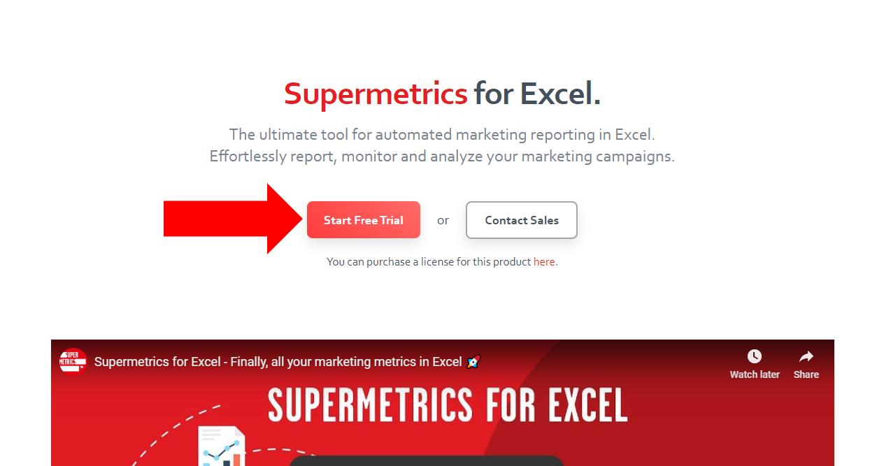 1 - Supermetrics for Excel - Start Trial