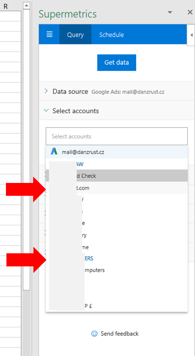 14 - Supermetrics for Excel - Select Google Account