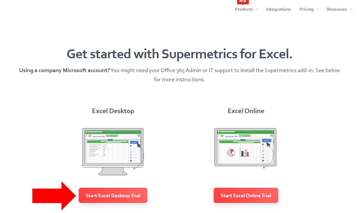2 - Supermetrics for Excel - Start Trial - Desktop