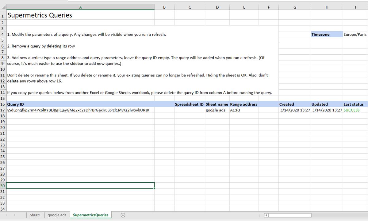 26 - Supermetrics for Excel - Config Sheet