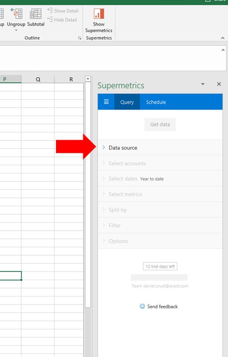 8 - Supermetrics for Excel - Launch Add-In Pane